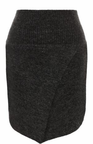 Шерстяная мини-юбка асимметричного кроя Isabel Marant Etoile. Цвет: серый