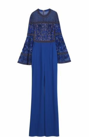 Приталенный комбинезон с декорированным лифом Elie Saab. Цвет: синий