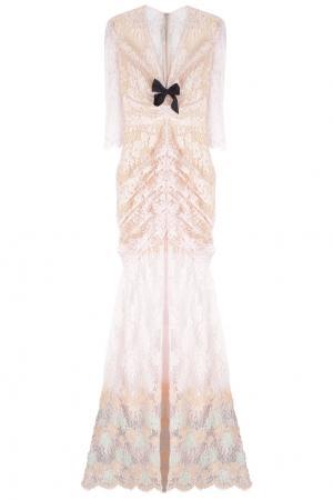 Хлопковое платье Alessandra Rich. Цвет: розовый