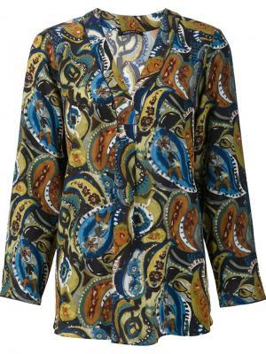 Блузка с принтом пейсли Lafayette 148. Цвет: многоцветный