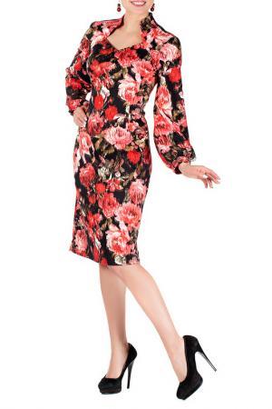Платье Mannon. Цвет: черно-коралловый