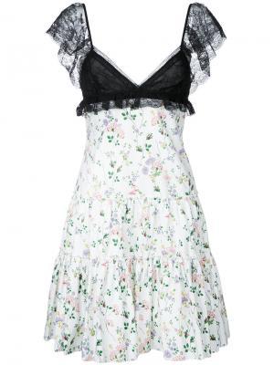 Платье с цветочным рисунком Giambattista Valli. Цвет: белый