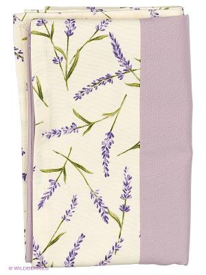 Скатерть Лаванда 130х170 см T&I. Цвет: молочный, зеленый, сиреневый, фиолетовый