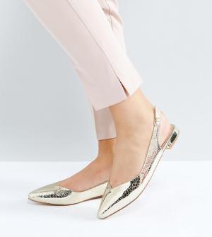 Faith Wide Fit Туфли на плоской подошве для широкой стопы. Цвет: золотой
