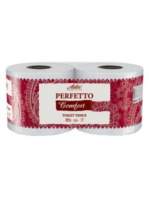 Туалетная бумага Aster Perfetto Comfort 2 рул.,декорир, с тиснением, 3-слойная. Цвет: белый