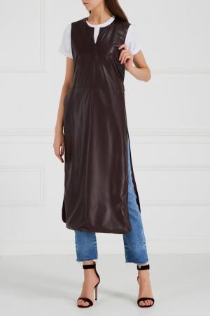 Платье с V-вырезом Masterpeace. Цвет: коричневый