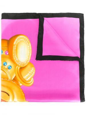 Шейный платок с принтом медведя Moschino. Цвет: розовый и фиолетовый