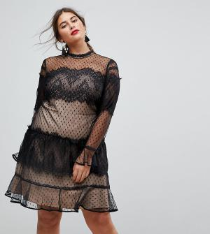 ASOS Curve Кружевное платье мини с длинными рукавами в стиле пэчворк. Цвет: черный