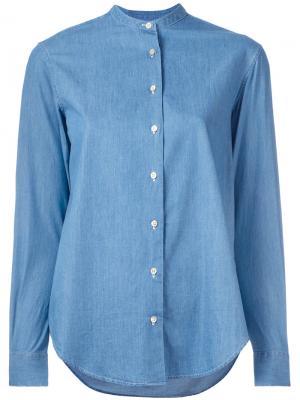 Джинсовая рубашка с узким воротником Xacus. Цвет: синий
