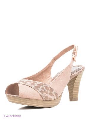 Босоножки на каблуке Marco Tozzi. Цвет: розовый