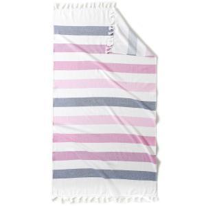 Полотенце пляжное Fouta Jolly, с махровой подкладкой, 330г/м² La Redoute Interieurs. Цвет: белый/ розовый/ синий,белый/ синий/ зеленый,белый/бирюзовый