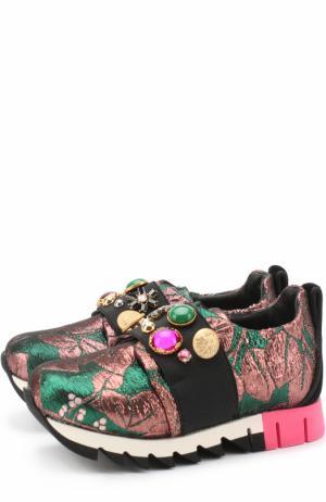 Текстильные кроссовки с эластичной вставкой и декором Dolce & Gabbana. Цвет: бронзовый