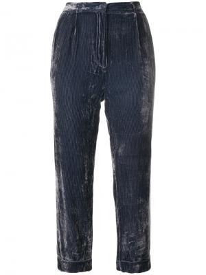 Вельветовые укороченные брюки Mes Demoiselles. Цвет: синий