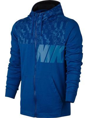 Толстовка M NSW HOODIE JSY CLUB GFX Nike. Цвет: синий, белый