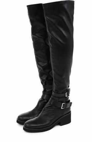 Кожаные ботфорты с ремешками Vic Matie. Цвет: черный
