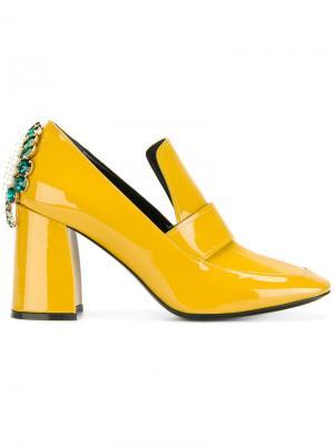 Декорированные туфли-лодочки Coliac. Цвет: жёлтый и оранжевый