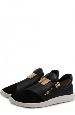 Комбинированные кроссовки Runner Giuseppe Zanotti Design. Цвет: черный