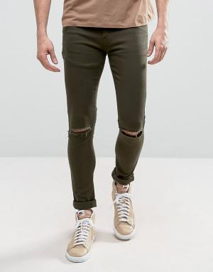 Criminal Damage Супероблегающие джинсы с рваными коленями. Цвет: зеленый