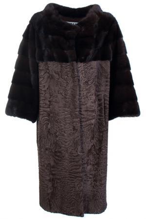 Меховое пальто Bellini. Цвет: коричневый