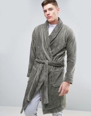 ASOS Флисовый халат с шалевым воротником. Цвет: серый