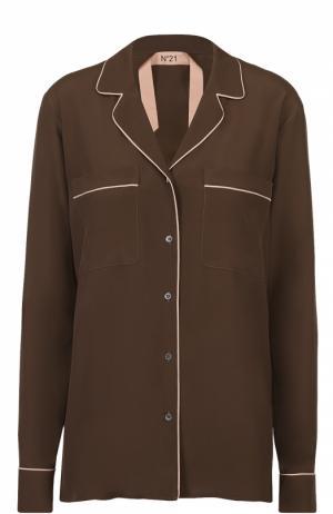 Блуза в пижамном стиле с контрастной отделкой No. 21. Цвет: хаки