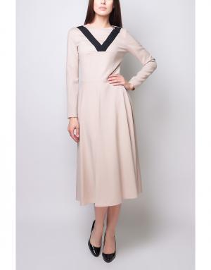 Шерстяное платье Poustovit. Цвет: палевый розовый, черный