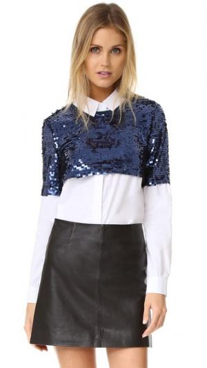 Рубашка на пуговицах с блестками ENGLISH FACTORY. Цвет: синий/белый комбо