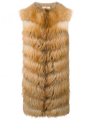 Панельная лисья шуба без рукавов Manzoni 24. Цвет: коричневый