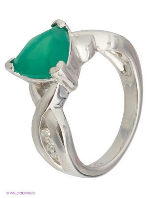 Кольцо Митра Ювелир. Цвет: зеленый, белый, серебристый