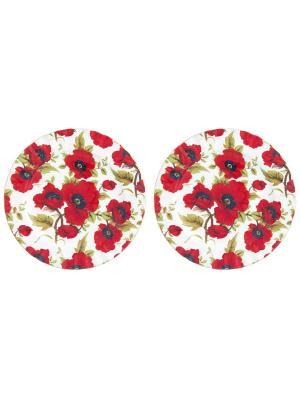 Набор десертных тарелок Маки Elan Gallery. Цвет: белый, зеленый, красный