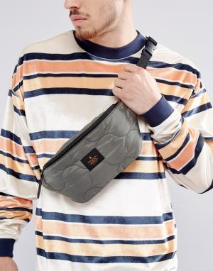ASOS Стеганая сумка-кошелек на пояс цвета хаки. Цвет: зеленый