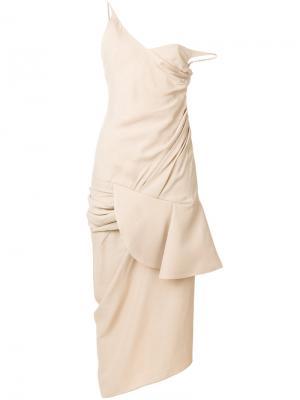 Платье миди с драпировкой Jacquemus. Цвет: телесный