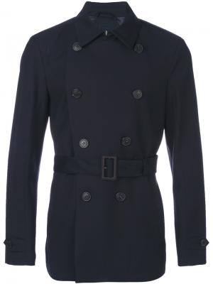 Watertight double-breasted short coat Corneliani. Цвет: синий
