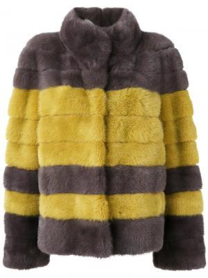 Полосатая укороченная норковая шуба Liska. Цвет: жёлтый и оранжевый