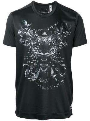Футболка с тигром Adidas By Kolor. Цвет: чёрный