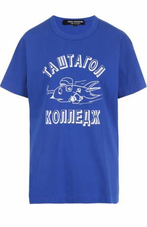 Хлопковая футболка прямого кроя с контрастным принтом Junya Watanabe. Цвет: голубой