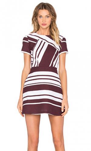 Мини платье pinot stripe By Johnny. Цвет: вишня