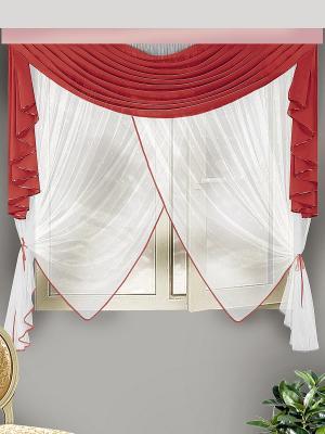 Комплект штор для кухни ZLATA KORUNKA. Цвет: бордовый, белый