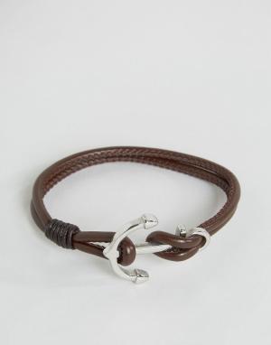 Seven London Коричневый кожаный браслет с якорем. Цвет: коричневый