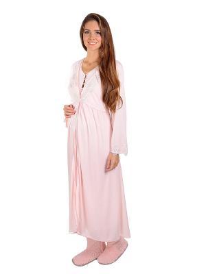 Сорочка, Халат MamaLine. Цвет: бледно-розовый