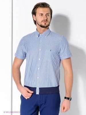 Рубашка MONDIGO. Цвет: белый, синий