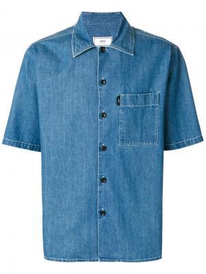 Джинсовая рубашка с короткими рукавами Ami Alexandre Mattiussi. Цвет: синий