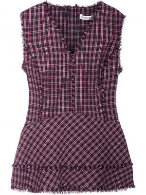 Клетчатая блузка с V-образным вырезом Altuzarra. Цвет: красный