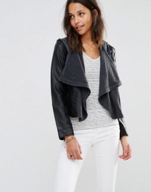 Hollister Драпированная куртка из искусственной кожи Twofer Jacket. Цвет: черный