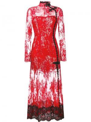 Кружевное вечернее платье Alessandra Rich. Цвет: красный