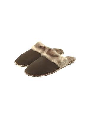Тапочки меховые Prestige Collection. Цвет: серо-коричневый, темно-коричневый