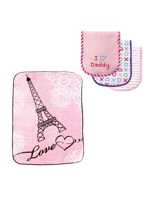 Комплекты Плед, 1 шт., + Салфетки для кормления, 3 шт. Luvable Friends. Цвет: розовый, белый