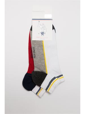 Носки U.S. Polo Assn.. Цвет: серый, белый, красный
