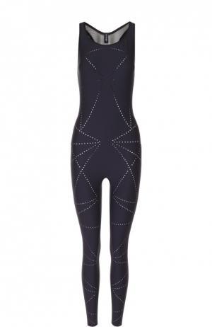 Спортивный облегающий комбинезон с открытой спиной Ultracor. Цвет: черный