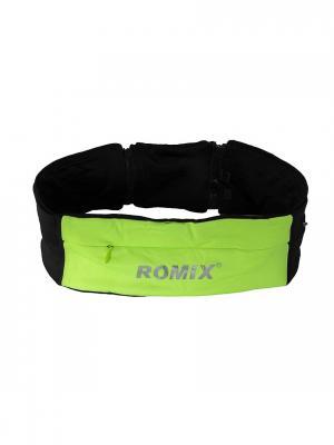 Пояс для занятий спортом с тремя карманами RH26 (размеры S, M) ROMIX. Цвет: зеленый